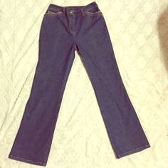 Jones New York Flare Jeans These jeans are in incredible condition! They seem to be high-waisted, and they have a cute color design along the pockets. Little to no signs of wear. They are in a deep denim wash.  Great for Spring! ❤️ Jones New York Jeans Flare & Wide Leg