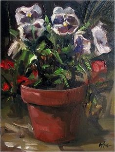 'Pansies in the Garden'  Oil on Panel by Margot King