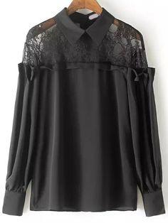 Black Long Sleeve Sheer Lace Blouse 18.20