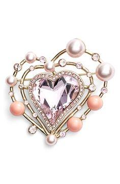 Swarovski crystal and glass pearl brooch