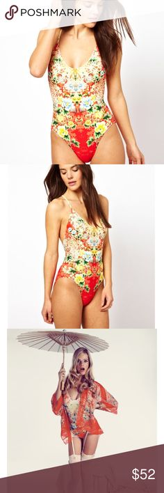 NWT Wildfox Geisha one piece swimsuit NWT and hygienic liber attatched. Strappy, low back. Wildfox Swim One Pieces