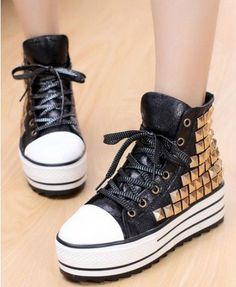 Black High Top Sneakers with Golden Stud