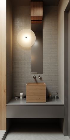wood sink in bathroom! so unique and lovely minimal design Bathroom Interior Design, Interior Design Living Room, Interior Ideas, Bathroom Renovations, Home Remodeling, Behance Branding, Behance Illustration, Best Kitchen Design, Wood Sink