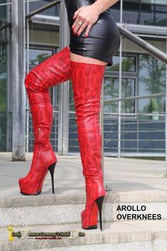 Arollo rote Overknees
