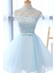 Chic party gowns, Light Sky Blue Homecoming Dress, Tulle formal gowns, High Neck Homecoming Gowns,Cap Sleeves Party Dress from Beauty Angel Burgundy Homecoming Dresses, Cute Prom Dresses, Dresses For Teens, Elegant Dresses, Pretty Dresses, Sexy Dresses, Fashion Dresses, Formal Dresses, Summer Dresses