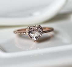 Heart Shape 14K Rose Gold Morganite Ring With SI/H Diamonds Ring/ Wedding Ring/ Engagement Ring/ Anniversary Ring/Stackable/Promise Ring