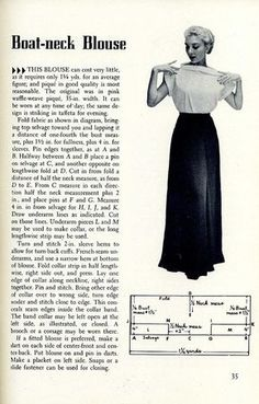 Boat Neck Blouse Pattern, from 1955 Sewing Magic. by trashingdays, flickr