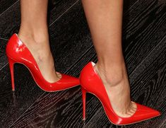 Eva Longoria Gets Festive for Valentines in Christian Louboutin Pumps