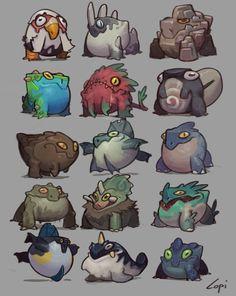 Cartoon Monsters, Cute Monsters, Fantasy Monster, Monster Art, Creature Concept Art, Creature Design, Game Character Design, Character Art, Dragons