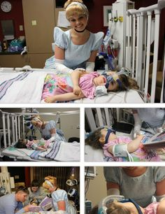 So I know that I usually don't post pictures of Disney outside the parks, but this was just too precious not to share with you all. This little girl was very sick, and her mother was able to arrange for Cinderella to come visit her in the hospital. It melts my heart. - Shelly