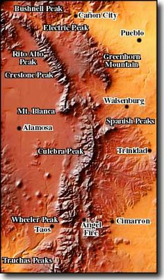 map of Sangre de Cristo mountains. One of longest mountain chains on earth. They stretch  from Poncha Pass, CO in the north to Glorieta Pass, NM in the south. There are ten peaks 14,000'+ high in the range and more than two dozen over 13,000'.