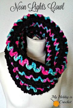 Neon Lights Cowl - Free Crochet Pattern by My Hobby is Crochet in toddler and adult sizes