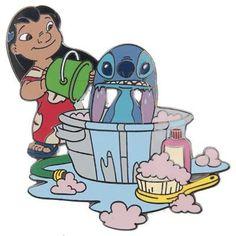 Lilo gives Stitch a bath - pin