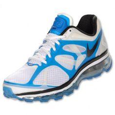 Nike Air Max 2012 Mens Running Shoes White/Blue Spark/Black