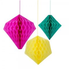 3 Geometric Honeycomb Home, Garden, Party or Retail Decorations.  Fabulous fun fiesta honeycombs to brighten tropical parties and get togethers. 3 bright summer honeycombs in geometric shapes will create an explosion of colour in gardens, patios or any outdoor areas. Match with our range of fiesta decorations including paper fans and honeycomb or pom pom garlands! Dimensions: 12″ Pink, 10″ Yellow, 8″ Green