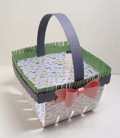 Easter Berry Basket with fringed 'grass' by Sharlene Meyer www.magpiecreates.com