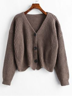 Scalloped Solid Micro-elastic Full Drop V-Collar Regular Loose Casual Cardigans Scalloped Hem Chunky Knit Cardigan Cute Casual Outfits, Stylish Outfits, Girl Outfits, Winter Mode Outfits, Winter Fashion Outfits, Sixth Form Outfits, Mode Turban, Mode Kpop, Chunky Knit Cardigan
