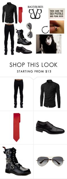 """""""Andy Biersack Suit"""" by abipatterson on Polyvore featuring Johnston & Murphy, Demonia, Ray-Ban, men's fashion and menswear"""