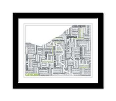 Cleveland Typography Map 8x10 Print on Etsy, $20.00