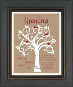 Grandma Gift- Family Tree - Personalized gift for Grandmother - Mother's Day Gift - Can be done in other colors on Etsy, $15.00