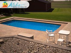 """Aloha 3a: The Modern models are aesthetically pleasing designs with clean, sleek lines.  The Aloha is a modern shaped fiberglass pool that is 15'x34' and goes to 3'6"""" in depth.  For more information about Aloha Fiberglass Pools or to find a local pool builder in your area that can assist you, visit www.AlohaFiberglassPools.com or call (800) 786-2318."""