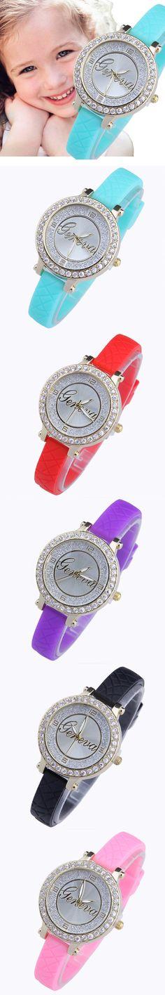 Genova Platinum Mini Geneva kids watch rhinestone crystal Girl Golden wristwatch casual dress Fashion Children Small wrist women $3.39