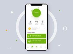 Golf Score Animation by Howard Chen - Design Interaktives Design, App Ui Design, Interface Design, Ui Design Mobile, Mobile Application Design, Design Thinking, Card Ui, Golf Score, Design Typography