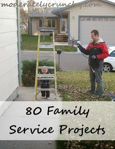 Ultimate service project list for families with link to a pinterest board with 1,000s more ideas. Free printable of the project list.