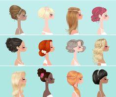 Jolies illustrations de coiffures de mariées