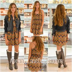 We paired this dress with a denim jacket and our fabulous boot socks!  Available in store! If you'd like this shipped to you, give us a call or comment below! 972-386-6070