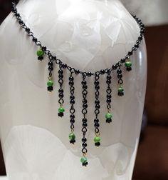 Green Turquoise and Black Stone Statement by LindyLeeTreasures