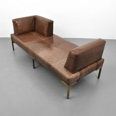 Luigi Gentile Leather Daybeds or Chaise Lounges, Two Available | From a unique collection of antique and modern chaises longues at https://www.1stdibs.com/furniture/seating/chaises-longues/