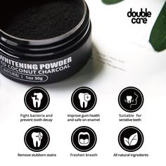 Natural activated coconut charcoal powder for teeth whitening Activated Charcoal Teeth Whitening, Natural Teeth Whitening, Gum Health, Teeth Health, Teeth Care, White Teeth, Organic Skin Care, Decay, Home Remedies