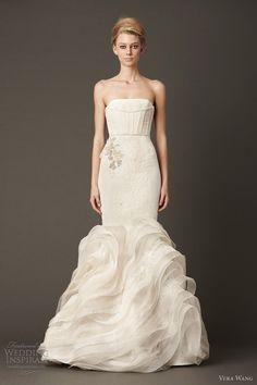 vera wang bridal fall 2013 wedding dress strapless mermaid gown bias organza lace flange skirt
