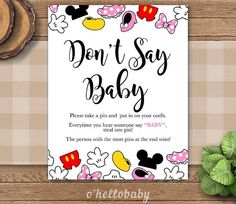 Exceptional Donu0027t Say Baby Game   Disney Theme Baby Shower Games   Baby Boy Baby