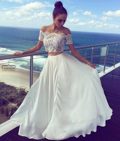 Charming Long Formal Gowns,Prom Dresses,White Lace Two Pieces Long Prom Dress, White Evening Dress,A-Line Prom Dresses Two Piece Evening Dresses, Two Piece Wedding Dress, Evening Dresses With Sleeves, Two Piece Gown, Cheap Prom Dresses Uk, Formal Dresses For Women, Cheap Wedding Dress, Wedding Dresses, Lace Wedding