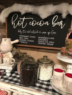 Hot cocoa bar sign, Christmas sign, winter sign, valentine sign, gift - I made this hot cocoa bar sign to last you fall through winter/valentine's day ❤️ I added som - The Cream, Hot Coco Bar, Christmas Signs, Christmas Decorations, Christmas Treats, Christmas Candy Bar, Christmas Centerpieces, Centerpiece Ideas, Peppermint Sticks