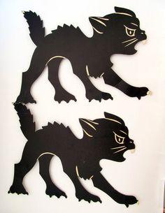 Vintage Beistle Halloween Black Cat Set of 2 by teresatudor, $12.00