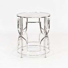"Nightstand table -Lenora Nickel Table, 24"" high x 20"" dia"