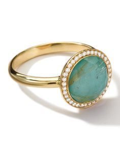 Ippolita 18k Gold Rock Candy Lollitini Ring, Quartz/Turquoise/Diamonds - Neiman Marcus