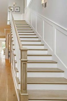 Board and Batten Installing the Wooden Wall Treatment, Indoors and Out - Home: Living color Stairway Walls, Staircase Wall Decor, Staircase Remodel, Staircase Makeover, Staircase Design, Stair Paneling, Panelling, Flur Design, Design Design