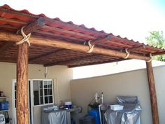 tejaban con galvateja - Buscar con Google Pergola, Outdoor Structures, Google, Log Cabin Homes, Cooking, Home, Outdoor Pergola