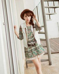 J74822 Japanese Fashion Totem Printing Slim Waist Dress [J74822] - $8.42 : China,Korean,Japan Fashion clothing wholesale and Dropship online-Be the most beautiful Lady