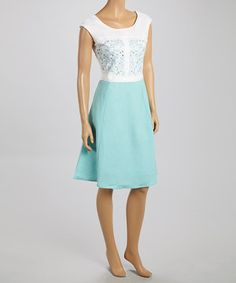 Love this White & Blue Embroidered Color Block A-Line Dress by Joy Mark on #zulily! #zulilyfinds