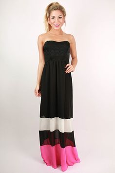 Off to the Hampton's Color Block Maxi Dress in Pink