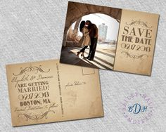 4x6 Vintage Save the Date Postcards  Rustic by BaileyHallDesigns, $2.50 for less than 50