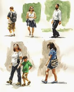 Sketch Book On my last outing in Battery Park I decided to spend that lunch hour sketching the people in the park. This is not an easy thing to do since. Human Figure Sketches, Figure Sketching, Urban Sketching, Figure Drawing, Watercolor Journal, Watercolor Sketch, Watercolor Portraits, Watercolor Paintings, Watercolors