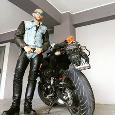 Hot denim and leather biker in #LeatherChaps #UrbanLeather #LeatherBiker