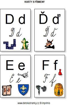 Abeceda – karty s písmeny – Dětské stránky Baby List, Montessori Activities, Elementary Schools, Alphabet, Playing Cards, Education, Games, Reading, Google