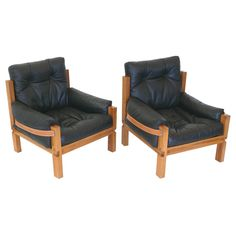 french leather chairs, 1970